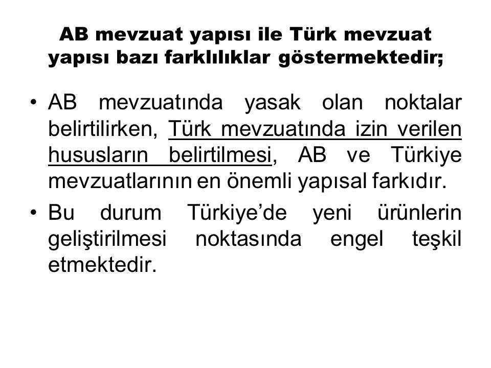 AB mevzuatında yasak olan noktalar belirtilirken, Türk mevzuatında izin verilen hususların belirtilmesi, AB ve Türkiye mevzuatlarının en önemli yapısal farkıdır.
