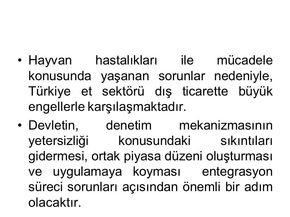 Hayvan hastalıkları ile mücadele konusunda yaşanan sorunlar nedeniyle, Türkiye et sektörü dış ticarette büyük engellerle karşılaşmaktadır.
