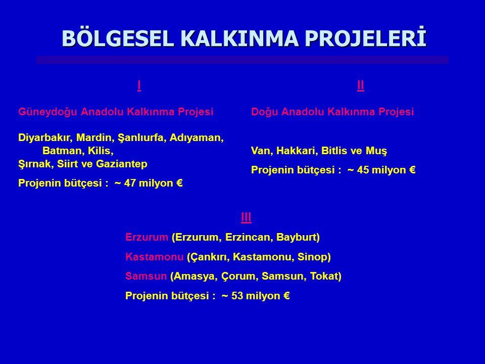 BÖLGESEL KALKINMA PROJELERİ III Erzurum (Erzurum, Erzincan, Bayburt) Kastamonu (Çankırı, Kastamonu, Sinop) Samsun (Amasya, Çorum, Samsun, Tokat) Proje