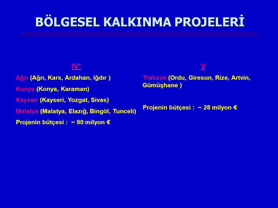 BÖLGESEL KALKINMA PROJELERİ IV* Ağrı (Ağrı, Kars, Ardahan, Iğdır ) Konya (Konya, Karaman) Kayseri (Kayseri, Yozgat, Sivas) Malatya (Malatya, Elazığ, B