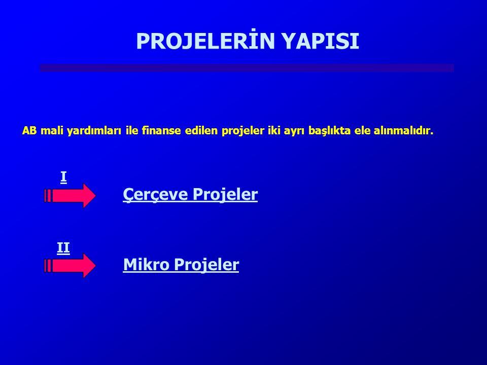 PROJELERİN YAPISI AB mali yardımları ile finanse edilen projeler iki ayrı başlıkta ele alınmalıdır. I II Çerçeve Projeler Mikro Projeler