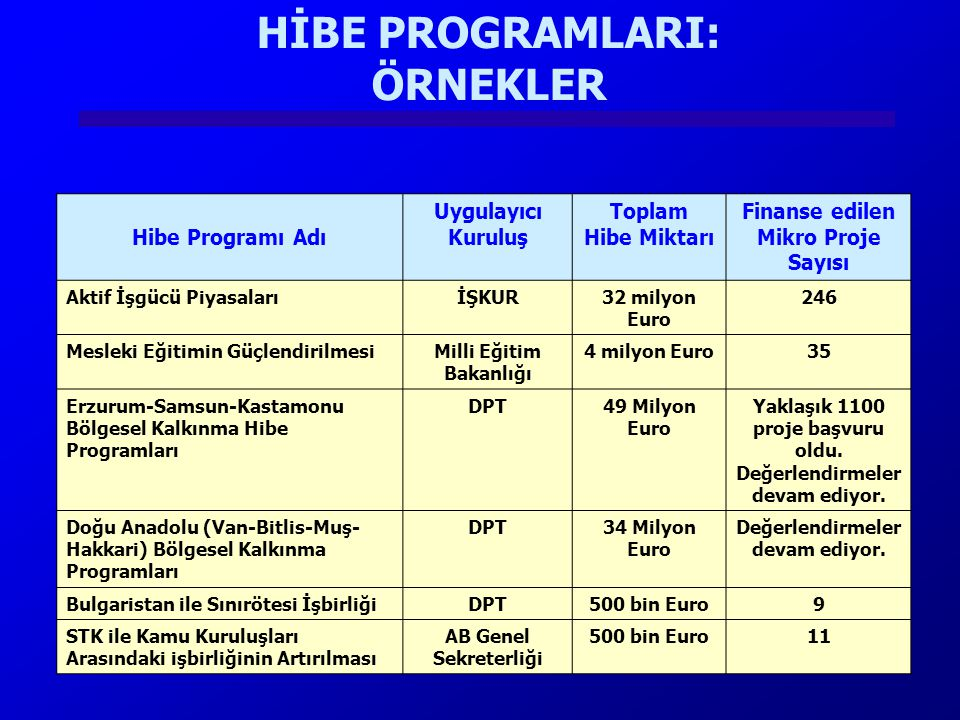 HİBE PROGRAMLARI: ÖRNEKLER Hibe Programı Adı Uygulayıcı Kuruluş Toplam Hibe Miktarı Finanse edilen Mikro Proje Sayısı Aktif İşgücü PiyasalarıİŞKUR32 m