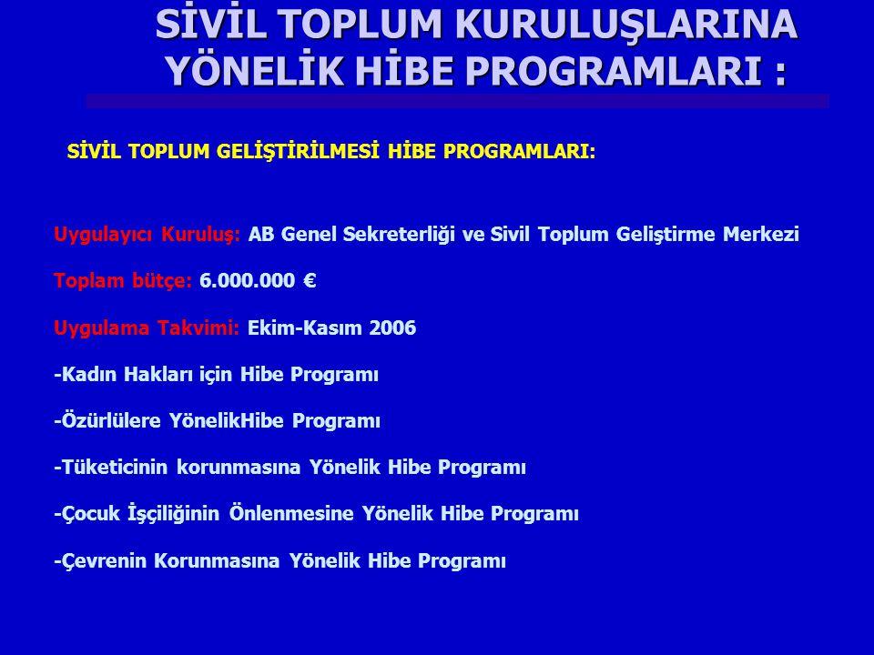 SİVİL TOPLUM KURULUŞLARINA YÖNELİK HİBE PROGRAMLARI : Uygulayıcı Kuruluş: AB Genel Sekreterliği ve Sivil Toplum Geliştirme Merkezi Toplam bütçe: 6.000