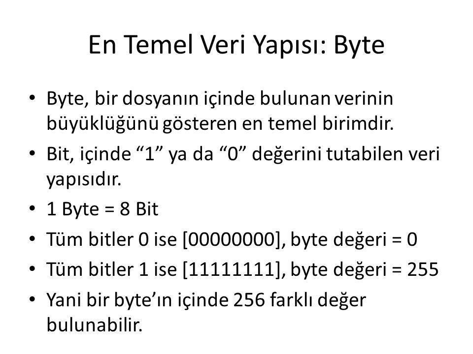 """En Temel Veri Yapısı: Byte Byte, bir dosyanın içinde bulunan verinin büyüklüğünü gösteren en temel birimdir. Bit, içinde """"1"""" ya da """"0"""" değerini tutabi"""