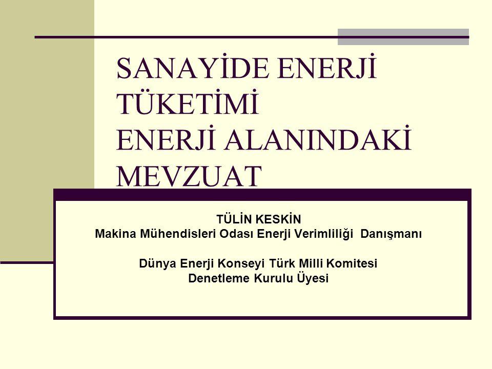 SANAYİDE ENERJİ TÜKETİMİ ENERJİ ALANINDAKİ MEVZUAT TÜLİN KESKİN Makina Mühendisleri Odası Enerji Verimliliği Danışmanı Dünya Enerji Konseyi Türk Milli Komitesi Denetleme Kurulu Üyesi