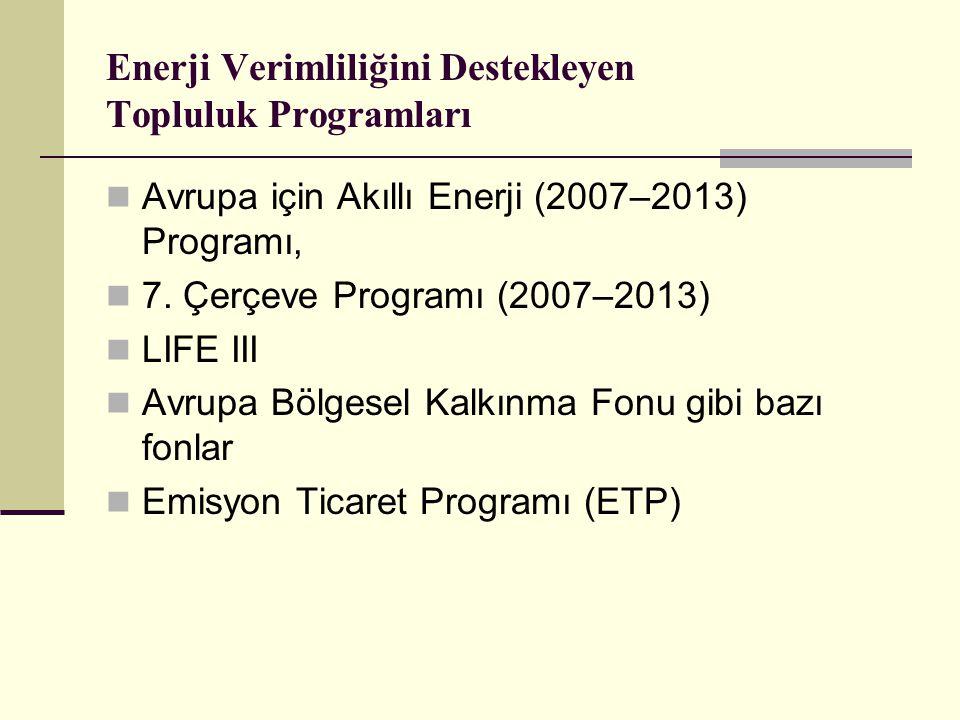 Enerji Verimliliğini Destekleyen Topluluk Programları Avrupa için Akıllı Enerji (2007–2013) Programı, 7.