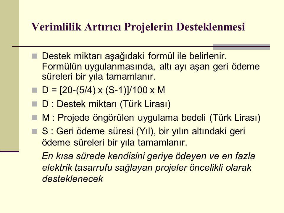 Verimlilik Artırıcı Projelerin Desteklenmesi Destek miktarı aşağıdaki formül ile belirlenir.
