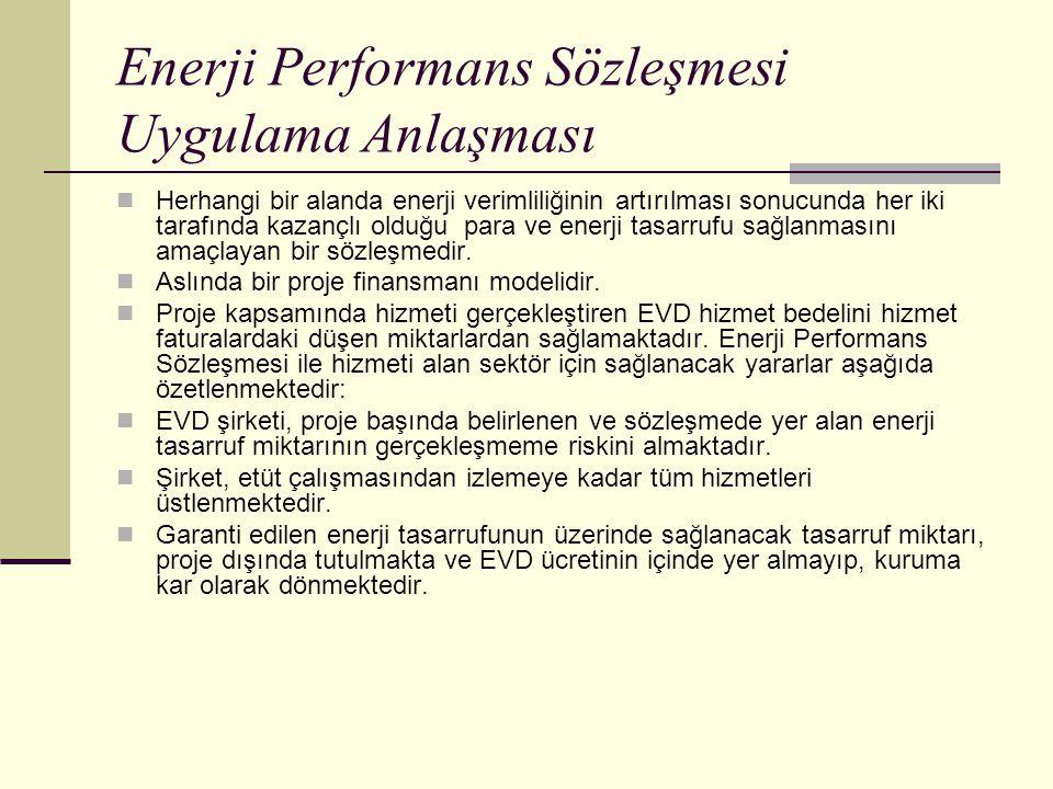 Enerji Performans Sözleşmesi Uygulama Anlaşması Herhangi bir alanda enerji verimliliğinin artırılması sonucunda her iki tarafında kazançlı olduğu para ve enerji tasarrufu sağlanmasını amaçlayan bir sözleşmedir.