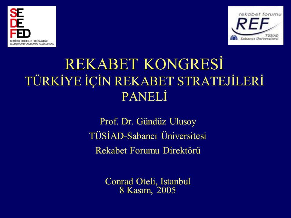 REKABET KONGRESİ TÜRKİYE İÇİN REKABET STRATEJİLERİ PANELİ Prof.