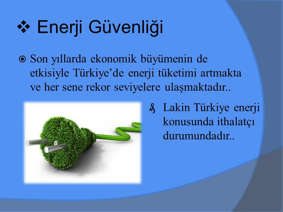  Enerji Güvenliği  Son yıllarda ekonomik büyümenin de etkisiyle Türkiye'de enerji tüketimi artmakta ve her sene rekor seviyelere ulaşmaktadır..