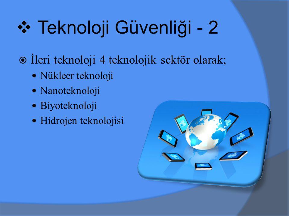  İleri teknoloji 4 teknolojik sektör olarak; Nükleer teknoloji Nanoteknoloji Biyoteknoloji Hidrojen teknolojisi  Teknoloji Güvenliği - 2