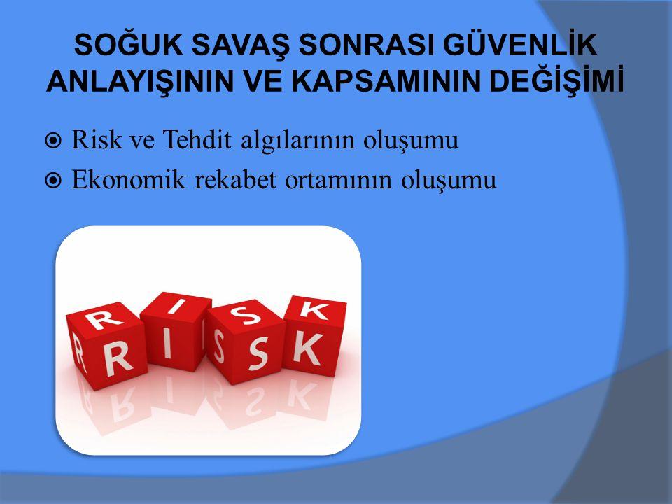  Risk ve Tehdit algılarının oluşumu  Ekonomik rekabet ortamının oluşumu SOĞUK SAVAŞ SONRASI GÜVENLİK ANLAYIŞININ VE KAPSAMININ DEĞİŞİMİ