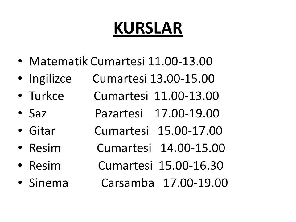 KURSLAR Matematik Cumartesi 11.00-13.00 Ingilizce Cumartesi 13.00-15.00 Turkce Cumartesi 11.00-13.00 Saz Pazartesi 17.00-19.00 Gitar Cumartesi 15.00-17.00 Resim Cumartesi 14.00-15.00 Resim Cumartesi 15.00-16.30 Sinema Carsamba 17.00-19.00