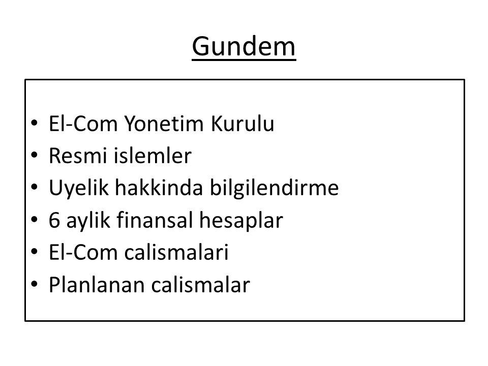 Gundem El-Com Yonetim Kurulu Resmi islemler Uyelik hakkinda bilgilendirme 6 aylik finansal hesaplar El-Com calismalari Planlanan calismalar
