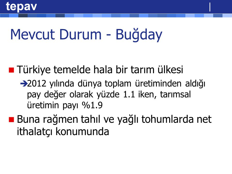 Mevcut Durum - Buğday Türkiye temelde hala bir tarım ülkesi  2012 yılında dünya toplam üretiminden aldığı pay değer olarak yüzde 1.1 iken, tarımsal ü