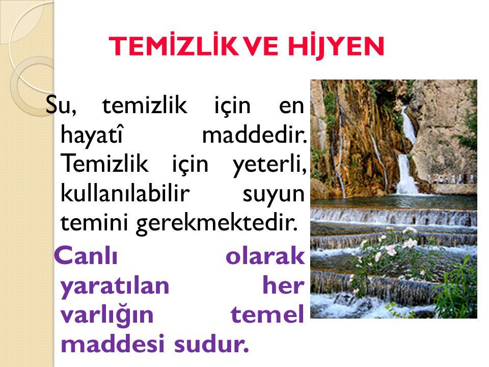 Su, temizlik için en hayatî maddedir. Temizlik için yeterli, kullanılabilir suyun temini gerekmektedir. Canlı olarak yaratılan her varlı ğ ın temel ma
