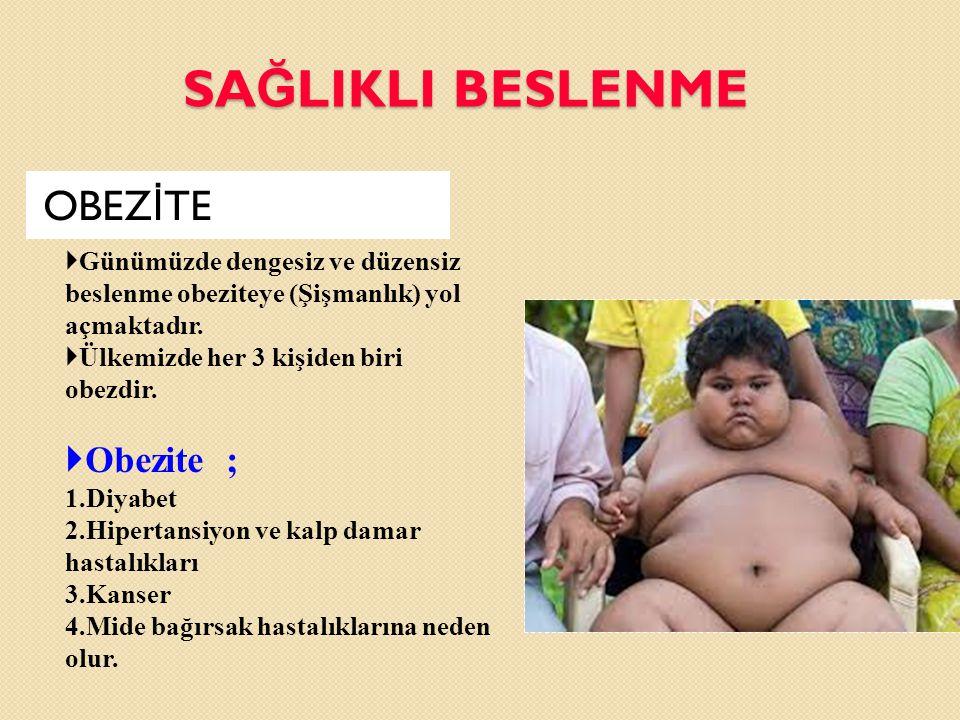 SA Ğ LIKLI BESLENME OBEZ İ TE  Günümüzde dengesiz ve düzensiz beslenme obeziteye (Şişmanlık) yol açmaktadır.  Ülkemizde her 3 kişiden biri obezdir.