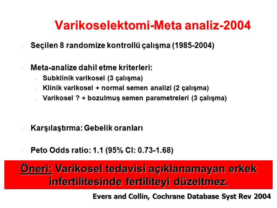  Seçilen 8 randomize kontrollü çalışma (1985-2004)  Meta-analize dahil etme kriterleri:  Subklinik varikosel (3 çalışma)  Klinik varikosel + norma