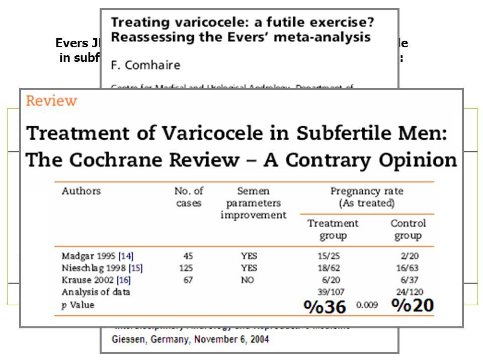 Evers JL, Collins JA. Surgery or embolisation for varicocele in subfertile men. Cochrane Database Syst Rev 2004;(3): CD000479.