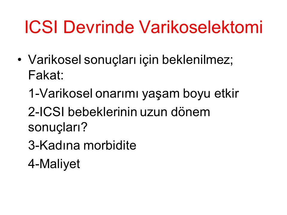 ICSI Devrinde Varikoselektomi Varikosel sonuçları için beklenilmez; Fakat: 1-Varikosel onarımı yaşam boyu etkir 2-ICSI bebeklerinin uzun dönem sonuçla