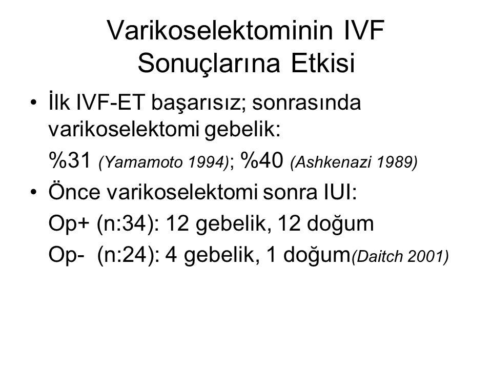 Varikoselektominin IVF Sonuçlarına Etkisi İlk IVF-ET başarısız; sonrasında varikoselektomi gebelik: %31 (Yamamoto 1994) ; %40 (Ashkenazi 1989) Önce va