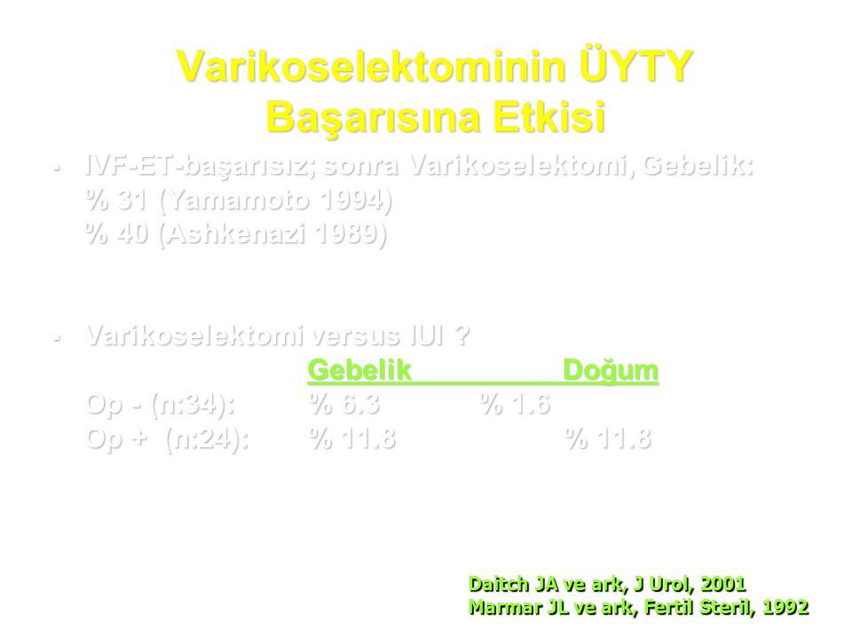 Varikoselektominin ÜYTY Başarısına Etkisi  IVF-ET-başarısız; sonra Varikoselektomi, Gebelik: % 31 (Yamamoto 1994) % 40 (Ashkenazi 1989) % 40 (Ashkena