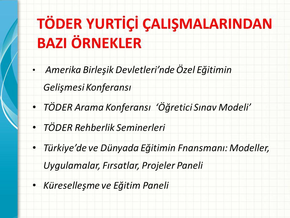 TÖDER YURTİÇİ ÇALIŞMALARINDAN BAZI ÖRNEKLER Amerika Birleşik Devletleri'nde Özel Eğitimin Gelişmesi Konferansı TÖDER Arama Konferansı 'Öğretici Sınav Modeli' TÖDER Rehberlik Seminerleri Türkiye'de ve Dünyada Eğitimin Fnansmanı: Modeller, Uygulamalar, Fırsatlar, Projeler Paneli Küreselleşme ve Eğitim Paneli