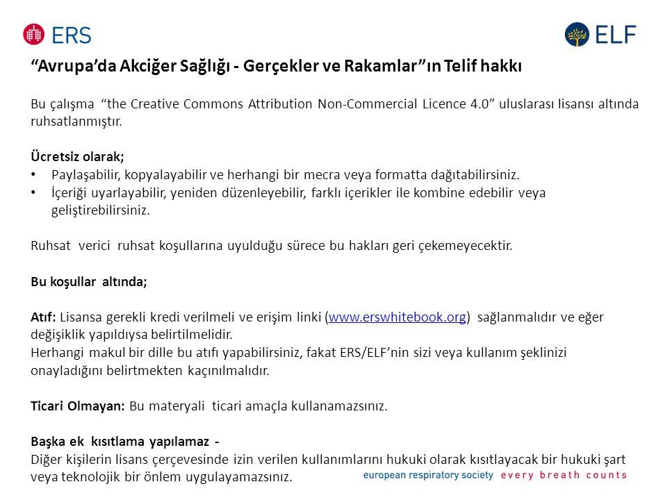 """""""Avrupa'da Akciğer Sağlığı - Gerçekler ve Rakamlar""""ın Telif hakkı Bu çalışma """"the Creative Commons Attribution Non-Commercial Licence 4.0"""" uluslarası"""
