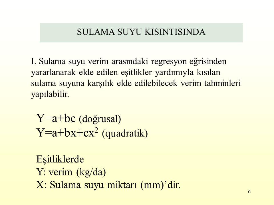 6 Y=a+bc (doğrusal) Y=a+bx+cx 2 (quadratik) Eşitliklerde Y: verim (kg/da) X: Sulama suyu miktarı (mm)'dir.