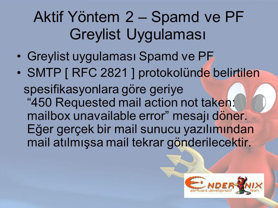 Aktif Yöntem 2 – Spamd ve PF Greylist Uygulaması Greylist uygulaması Spamd ve PF SMTP [ RFC 2821 ] protokolünde belirtilen spesifikasyonlara göre geriye 450 Requested mail action not taken: mailbox unavailable error mesajı döner.