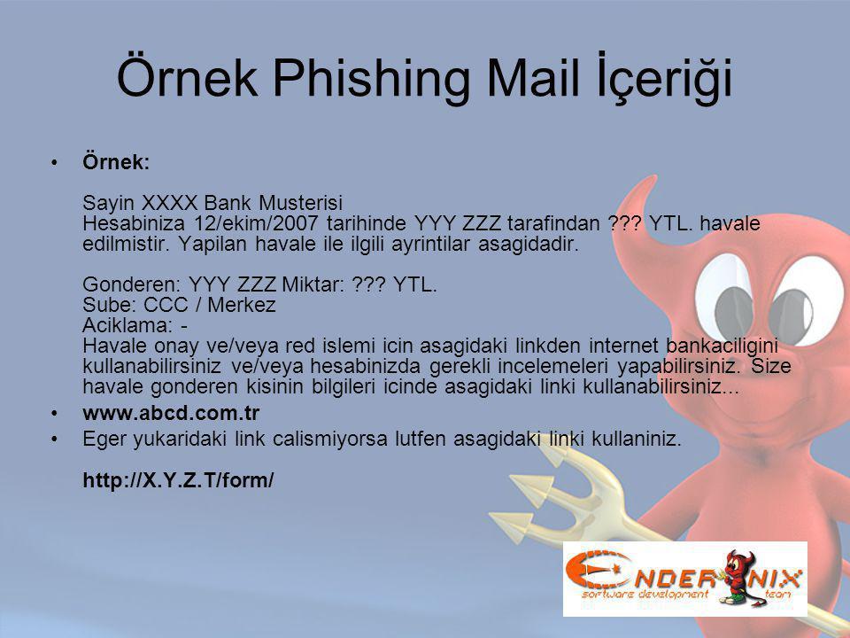 Örnek Phishing Mail İçeriği Örnek: Sayin XXXX Bank Musterisi Hesabiniza 12/ekim/2007 tarihinde YYY ZZZ tarafindan .