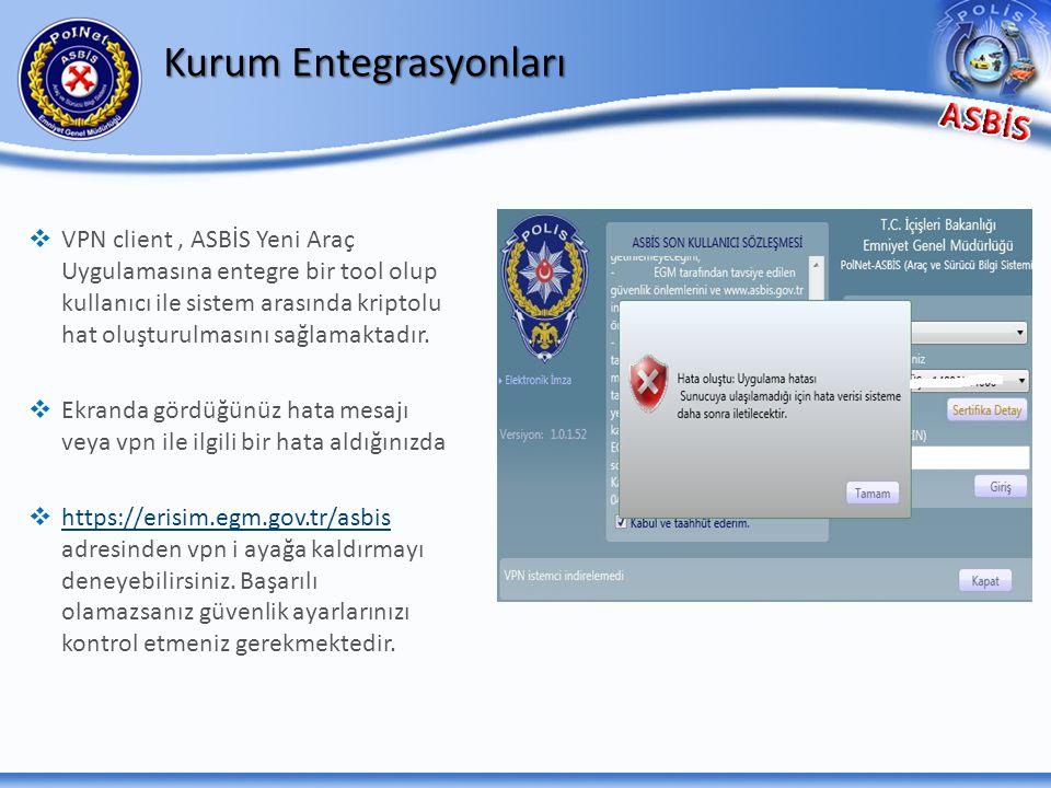 Kurum Entegrasyonları   VPN client, ASBİS Yeni Araç Uygulamasına entegre bir tool olup kullanıcı ile sistem arasında kriptolu hat oluşturulmasını sa