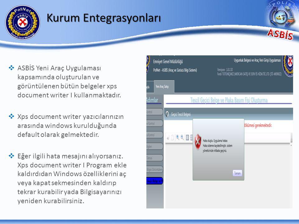 Kurum Entegrasyonları   ASBİS Yeni Araç Uygulaması kapsamında oluşturulan ve görüntülenen bütün belgeler xps document writer I kullanmaktadır.   X