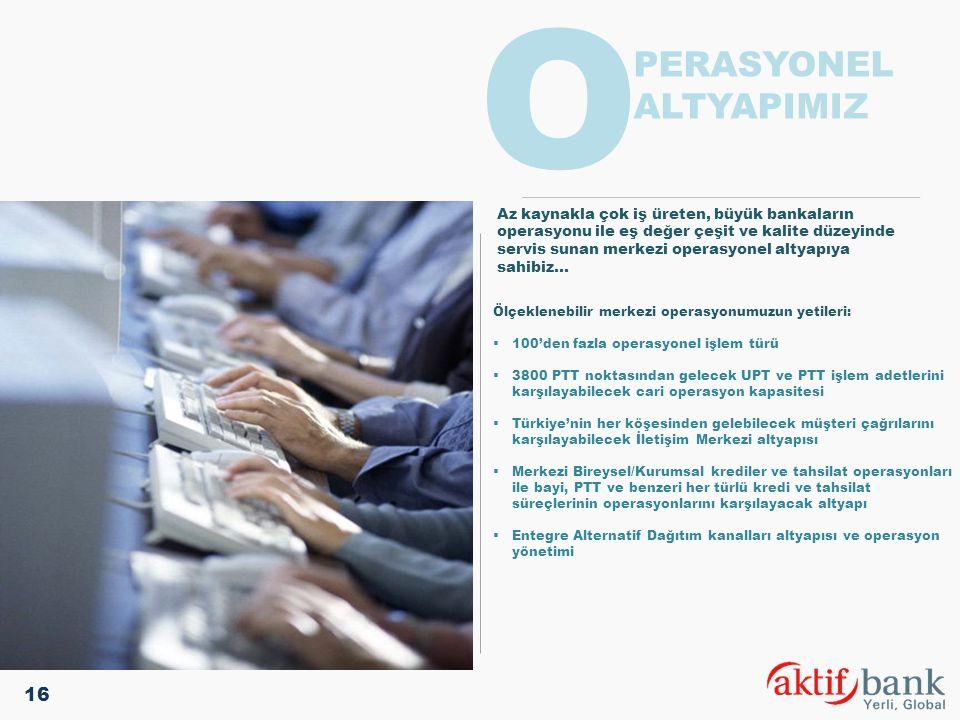 Ölçeklenebilir merkezi operasyonumuzun yetileri:  100'den fazla operasyonel işlem türü  3800 PTT noktasından gelecek UPT ve PTT işlem adetlerini kar