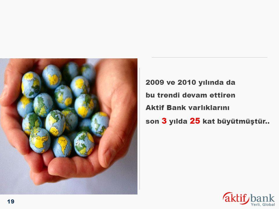 2009 ve 2010 yılında da bu trendi devam ettiren Aktif Bank varlıklarını son 3 yılda 25 kat büyütmüştür.. 19