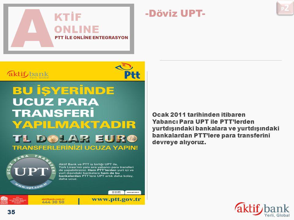 Ocak 2011 tarihinden itibaren Yabancı Para UPT ile PTT'lerden yurtdışındaki bankalara ve yurtdışındaki bankalardan PTT'lere para transferini devreye a