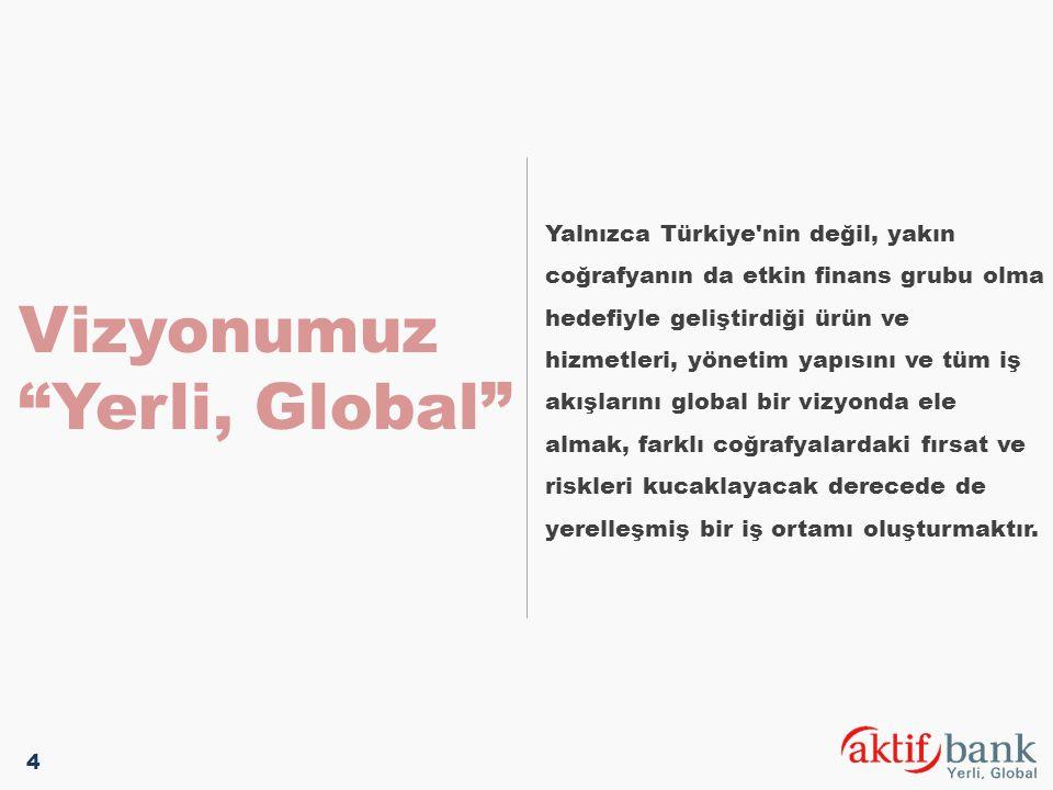 """Vizyonumuz """"Yerli, Global"""" Yalnızca Türkiye'nin değil, yakın coğrafyanın da etkin finans grubu olma hedefiyle geliştirdiği ürün ve hizmetleri, yönetim"""