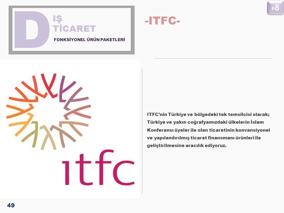 -ITFC- ITFC'nin Türkiye ve bölgedeki tek temsilcisi olarak; Türkiye ve yakın coğrafyamızdaki ülkelerin İslam Konferansı üyeler ile olan ticaretinin ko