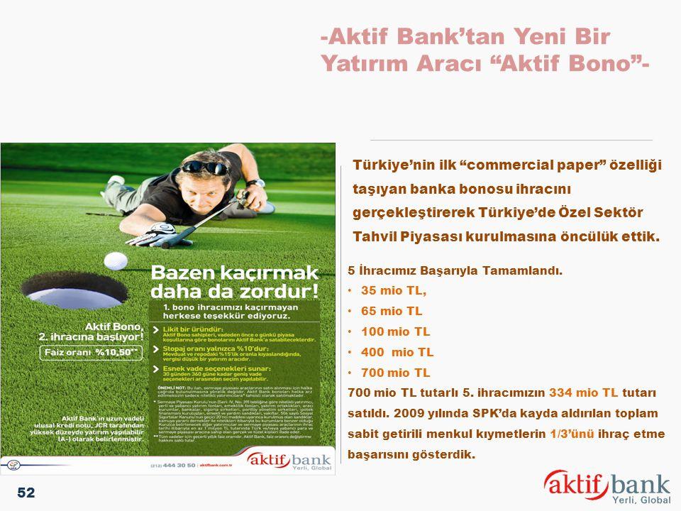 """-Aktif Bank'tan Yeni Bir Yatırım Aracı """"Aktif Bono""""- Türkiye'nin ilk """"commercial paper"""" özelliği taşıyan banka bonosu ihracını gerçekleştirerek Türkiy"""