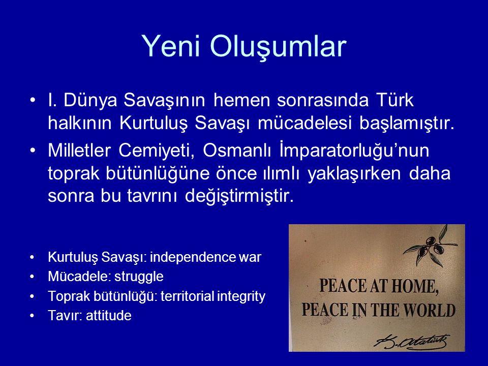 Yeni Türk Devleti Osmanlı ülkesi toprakları Ermenistan, Kürdistan ve Vatikanlaştırılmış bir İstanbul şeklinde paylaştırılmıştır.