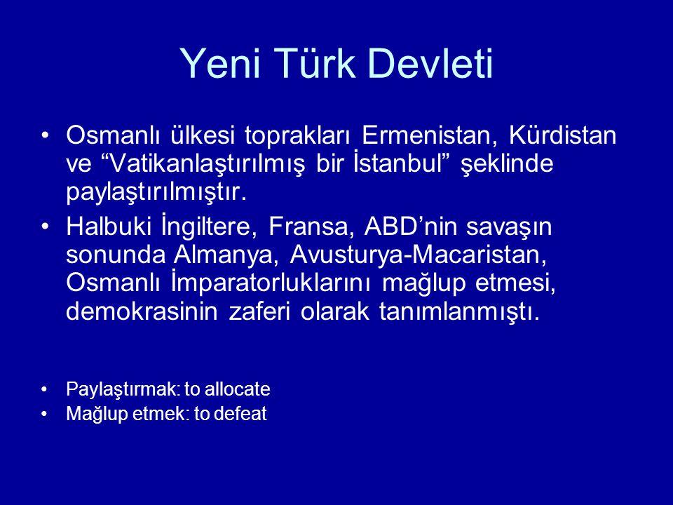Türkiye Cumhuriyeti –İç politikada milli egemenlik , dış politikada misâk-ı milli hakim olacaktır.