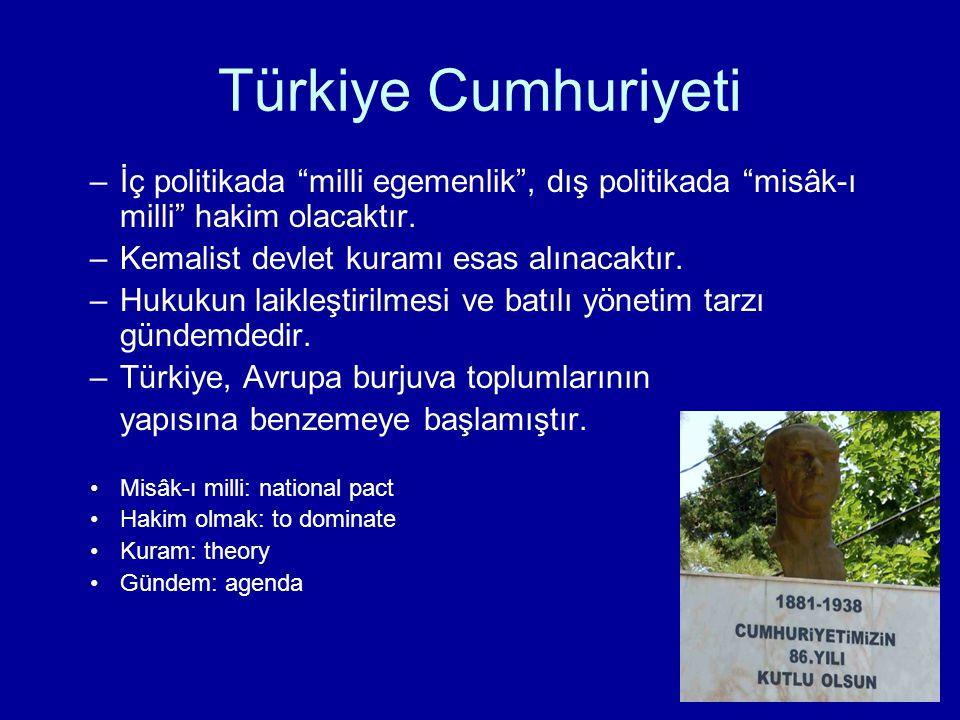 """Türkiye Cumhuriyeti –İç politikada """"milli egemenlik"""", dış politikada """"misâk-ı milli"""" hakim olacaktır. –Kemalist devlet kuramı esas alınacaktır. –Hukuk"""