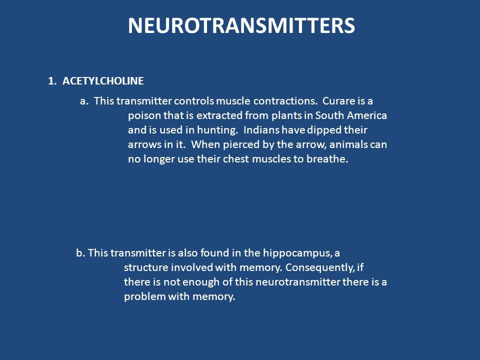 Neurotransmitter Molecule Derived From Site of Synthesis Acetilcholine CholineCNS, parasympathetic nerves Serotonin Hydroxytryptamine (5-HT) Tryptopha