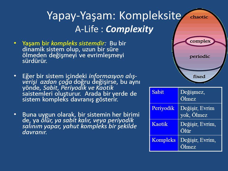 Yapay-Yaşam: Entropi (A-Life : Entropy) Termodinamiğin İkinci Yasası: İki sistem birleştirilirse, birleşik sistemin entropisi (veya kaos) birleşen sis
