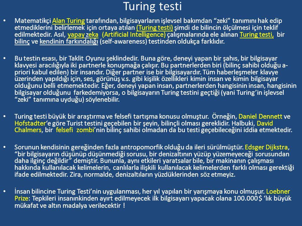 Bilinç Testleri Testler Bilincin kesin bir tanımı olmadığı için onun varlığını ölçebilecek bir ölçü de bulunmamaktadır. Blinç probleminin bu doğası ge
