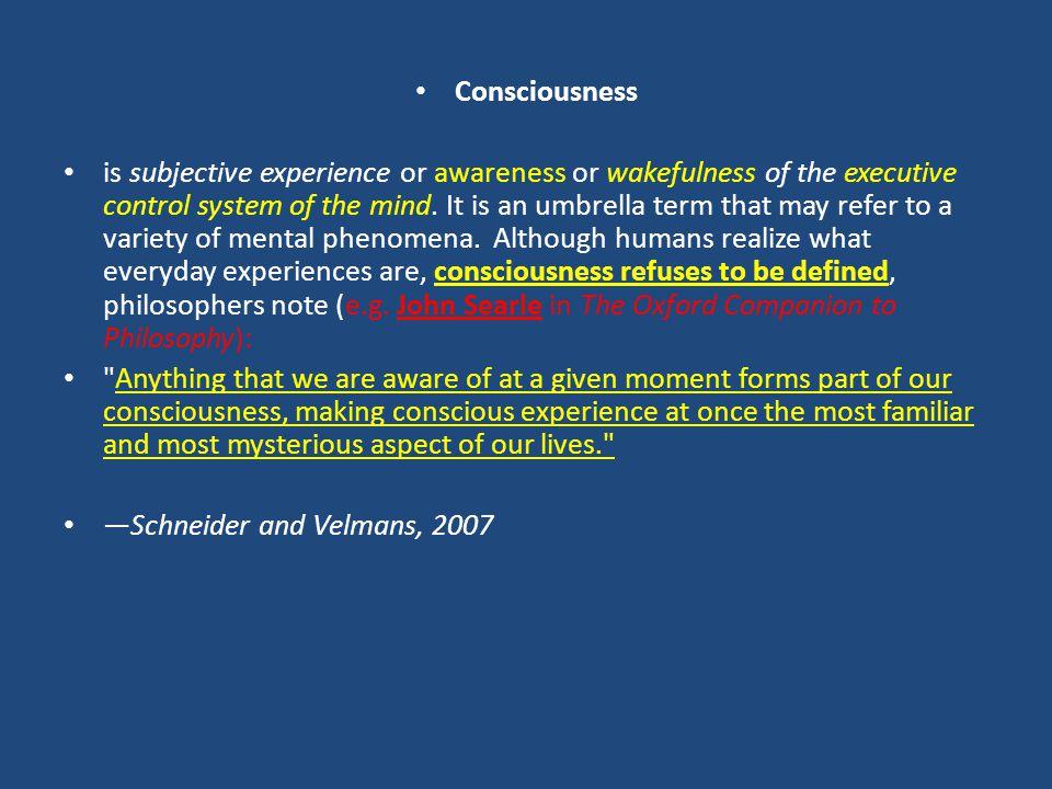 Bilinç (tanımlar) introspektif bilinç Aristoteles (MÖ 384 – 322) : Bilinç, çevremizde ve vücudumuzda olan bitenin farkında olarak, diğer duygularımızı