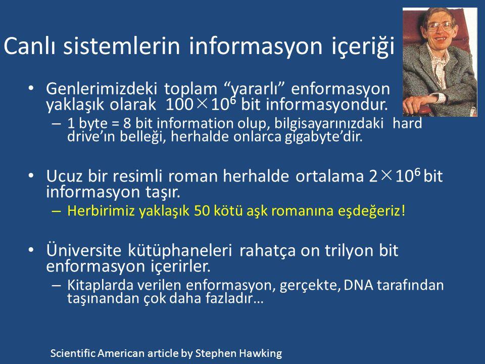 Canlı sistemlerde informasyon Canlı sistemler (a) kendi özelliklerini tanımlayan bir enformasyon taşıyıcısına ve (b) bu informasyonu icra edecek bir m