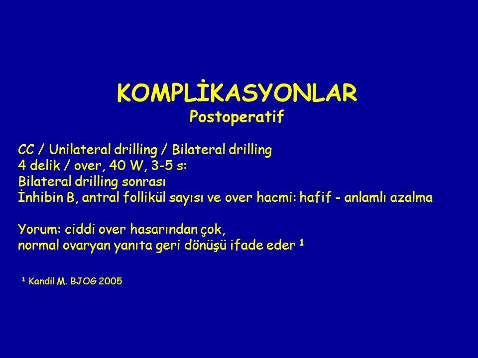 KOMPLİKASYONLAR Postoperatif CC / Unilateral drilling / Bilateral drilling 4 delik / over, 40 W, 3-5 s: Bilateral drilling sonrası İnhibin B, antral f