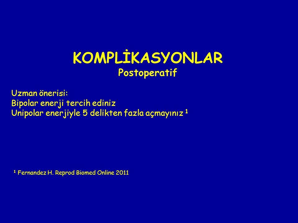 KOMPLİKASYONLAR Postoperatif Uzman önerisi: Bipolar enerji tercih ediniz Unipolar enerjiyle 5 delikten fazla açmayınız 1 1 Fernandez H. Reprod Biomed