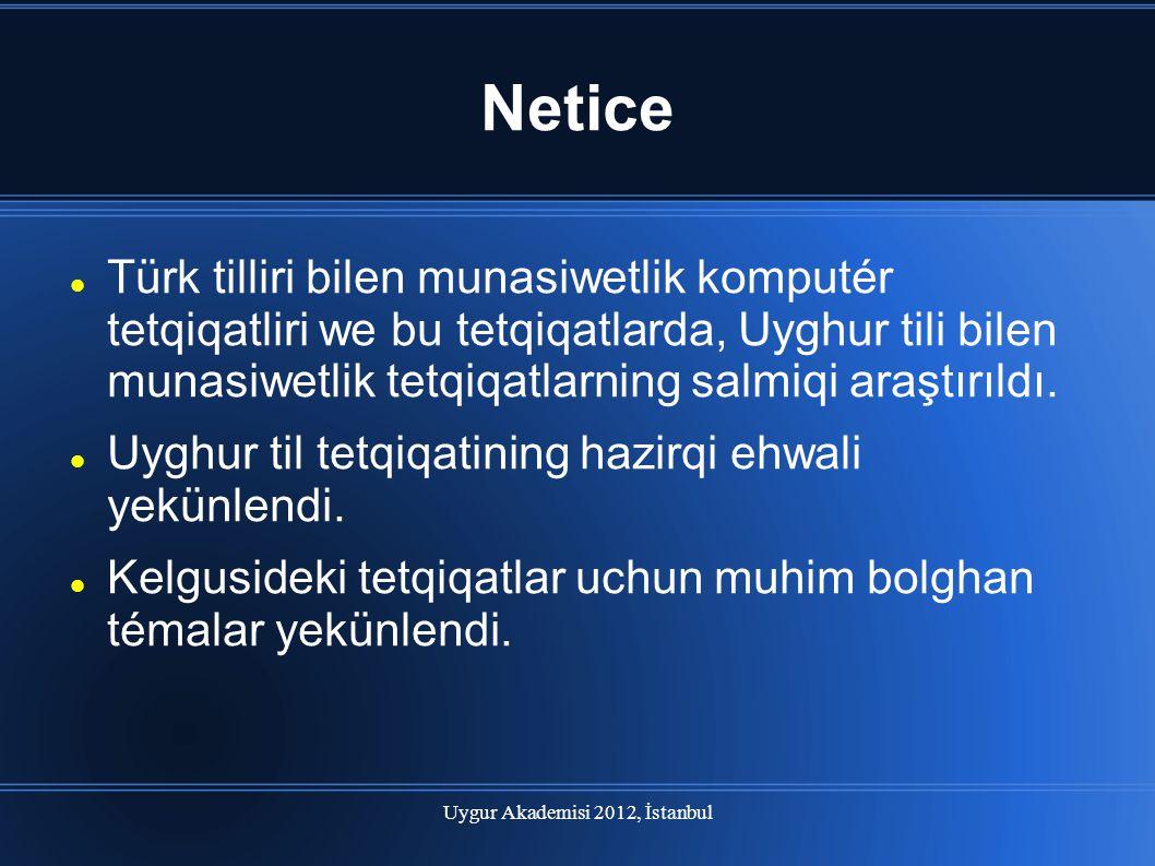 Uygur Akademisi 2012, İstanbul Netice Türk tilliri bilen munasiwetlik komputér tetqiqatliri we bu tetqiqatlarda, Uyghur tili bilen munasiwetlik tetqiq